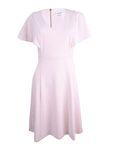 Sleeves Dress Fit Flare Klein Bell Women's Pink Calvin nwqPOCYxP