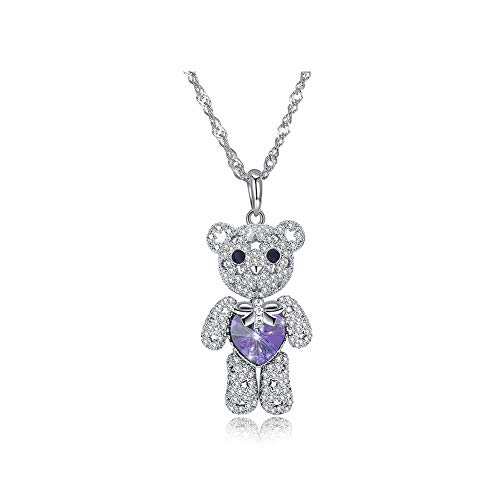 Brqmy Women 925 Sterling Silver Cute Bear Heart-Shaped Necklace Pendant Jewelry Cute New Year Gifts,Purple