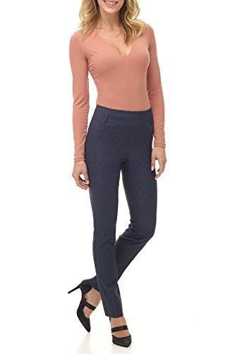 Rekucci Women's Ease In To Comfort Fit Stretch Slim Pant (16,Indigo) ()