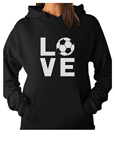 (TeeStars - I Love Soccer - Gift for Soccer Players/Fans Women Hoodie Small Black)