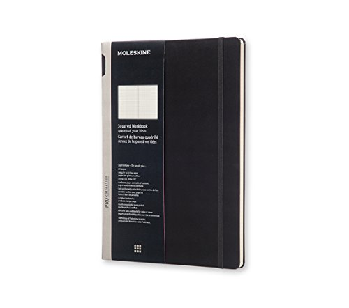 Moleskine Pro Collection Workbook, A4, Squared, Black, Hard Cover (12 x 8.5)