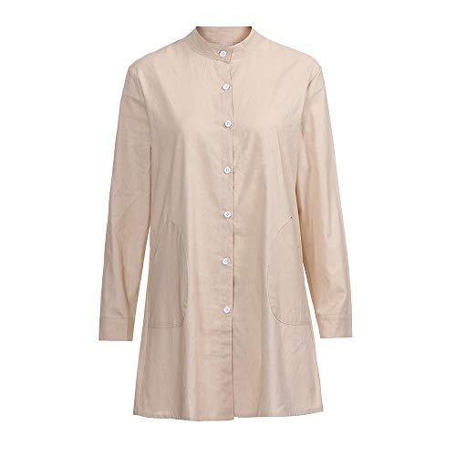 Chemise Shirt Tops de de Unie Chemisier Beige Chic pour Beikoard Coton T Bouton en Chemisier Couleur Manches Femme Longues Femme Poche ZHvIq