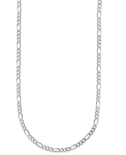 - 18K Gold 2.3mm Figaro Link Chain Bracelet or Necklace - Made In Italy (White, 16.00)