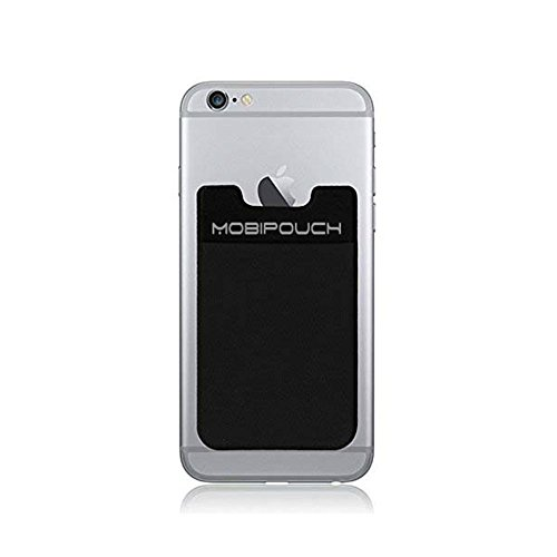 MOBIPOUCH - iPhone Wallet (2018) | Sticky Pouch | Money Clip ID | Phone Credit Card Holder Case | Cell Pouch | Pay To Go Phone Card | Stick On Credit Card Holder | Ultra-slim Self Adhesive, Black