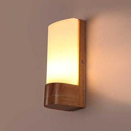CGJDZMD Modern Minimalist LED Solid Wood Wall Lamp Sconce Bedroom Bedside Lamp Creative Glass Lampshade Single Head E27 Aisle Stairs Bathroom Wall Lights Lamps by CGJDZMD