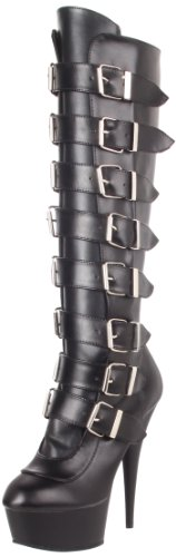 Pleaser DELIGHT-2049 Blk Faux Leather/Blk Matte UK 8 (EU 41 )