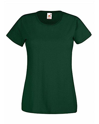 Fruit of the Loom de las mujeres señoras de cuello camiseta de manga corta T Shirts verde oscuro