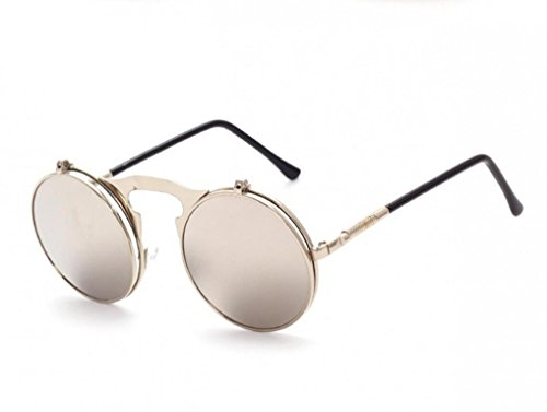 WODISON Steampunk Style Sunglasses Flip up Round Lens for Men Women with - Flip Up Sunglasses Wearing