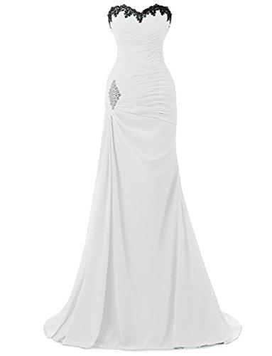 A Prom Donna Con Pieghe linea An46 D'onore Bianco Chiffon Damigella Anlin qwCxpOqd