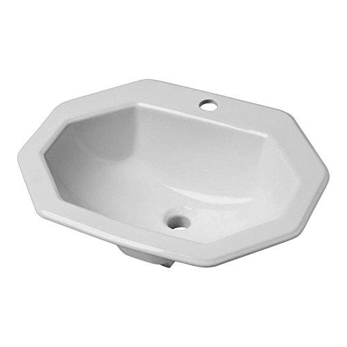 Vasque /à encastrer octogonale en c/éramique Blanche