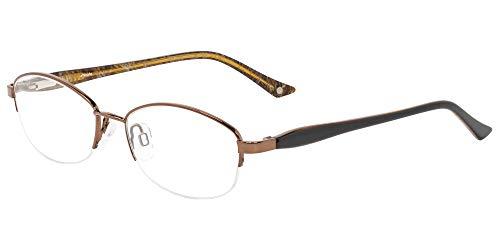 Memphis Glass - UMIZATO Prescription Glasses Frames Eyeglasses For Women - Oval, Stainless Steel, Acetate Optical Rx (MEMPHIS in Cafe)