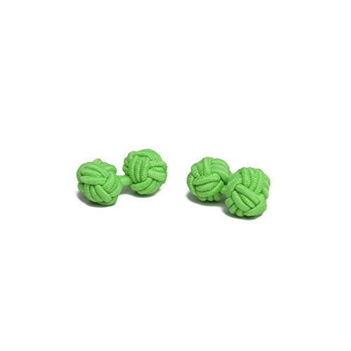 Jacob Alexander Solid Color Silk Knot Cufflinks - Lime (Green Cufflinks)