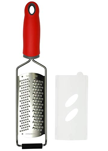 Cheese Grater/Citrus Lemon Zester - 2-in-1 Fine and Coarse Acid-Etched Stainless Steel Blade, Dishwasher Safe | by Lynn & Riley (Red)