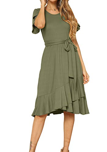 levaca Womens Plain Casual Flowy Ruffle Midi Dress with Belt Army Green S