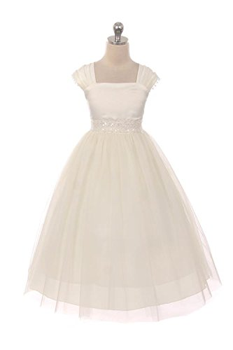 This Flower Girl Communion Dress for Girls - Cap Sleeves and Satin Tulle Skirt with Elegant Lace Trim - Size 12, (Ivory Satin Trim)