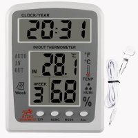Hygrometer Thermometer Indoor Humidity Monitor with Temperature Gauge Humidity Meter Hygrometer KT203 Multifunction Large Screen Display Home Comfort Monitor Indoor Outdoor Meter with Alarm Clock