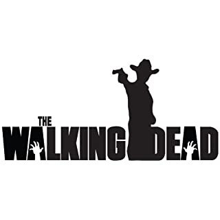 "Rick Grimes Gun Hat The Walking Dead Logo Vinyl Sticker Decal For Car Windows Laptop (5.5"" inches (White)"
