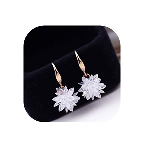 - Rose/White Gold Color 100% Crystal Flower Design Drop Earrings For Women Fashion Party Jewelry Femme,Gold-Color,White