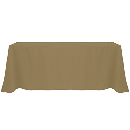 Ultimate Textile (3 Pack) 90 x 156-Inch Rectangular Polyester Linen Tablecloth with Rounded Corners - for Wedding, Restaurant or Banquet use, Cafe Khaki by Ultimate Textile (Image #1)'