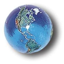 """Blue Earth Marble With Natural Earth Continents, Recycled Glass, 5 In A Pouch, Half Inch Diameter by """"Marbles, Globes & Gifts"""""""