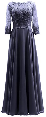 MACloth Women 3/4 Sleeves Lace Formal Evening Gown Maxi Mother of Bride Dress (US12, Dark Navy) (Mother Of The Bride Couture Evening Gowns)