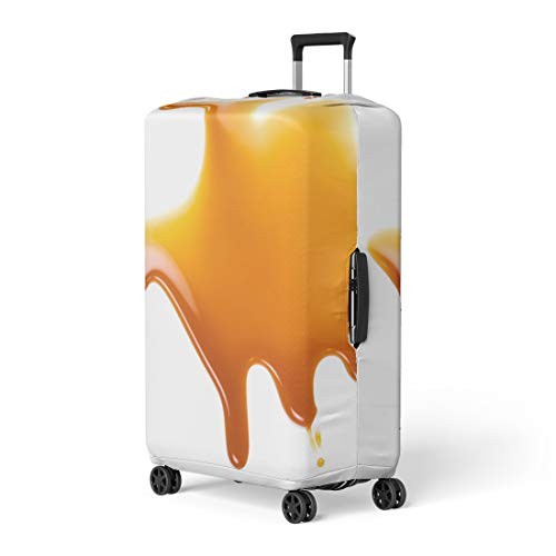 Pinbeam Luggage Cover Brown Sweet Caramel Sauce Golden Butterscotch Toffee Liquid Travel Suitcase Cover Protector Baggage Case Fits 22-24 inches
