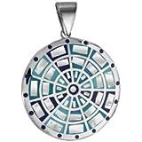 1001 Bijoux - Pendentif acier stella mia rond avec motifs dégradés bleu avec nacre