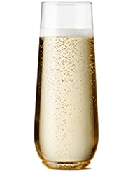 TOSSWARE POP 9oz Flute Recyclable & Crystal Clear Unbreakable Plastic Champagne Glasses, SET OF 12