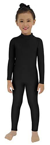 Black Cat Leotard (Speerise Girls Kids Spandex Long Sleeve Full Body Unitard Costume for Child, Black,)