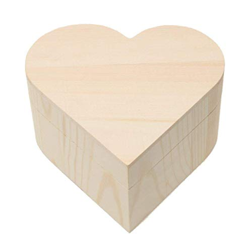 Xeminor Wooden Storage Case Durable Wooden Trinket Box Heart Trinket Box Plain Wooden Case Wooden Crafts Case for Trinket Jewellery Gift 1 Pcs by Xeminor (Image #3)