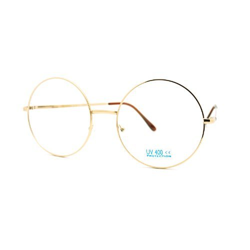 Super Oversized Round Circle Frame Clear Lens Glasses Gold - Circle Lenses