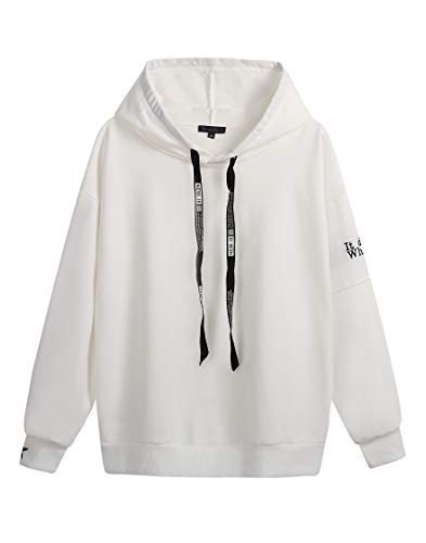 Sweetbei J Womens Letter Embroidered Drawstring Loose Fit Hooded Sweatshirt Top 1-White - Embroidered Pullover Hooded