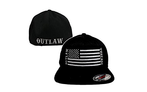 Black and White Men's Support (America) Fitted Flat Bill Hat by Outlaw Threadz 7 1/4-7 5/8 (Large-XLarge) ()
