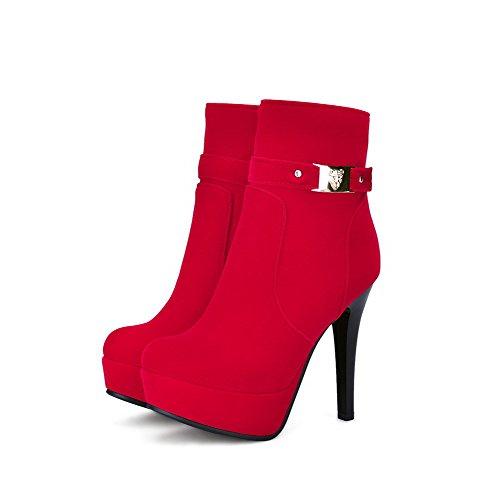AllhqFashion Damen Nubukleder Reißverschluss Rund Zehe Stiletto Stiefel Rot