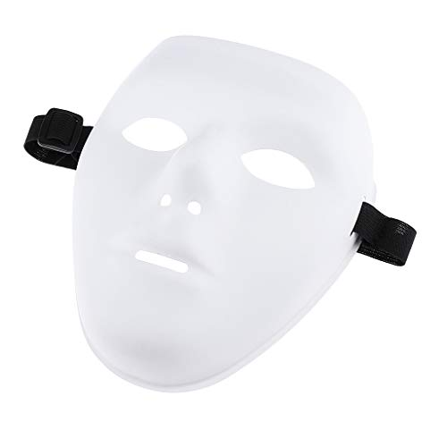 Fenteer The White Face Mask Movie Rave Party Festival Halloween Costume Jabbawockeez, Paintable - White, as -