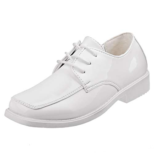 Josmo Boys Lace-up Dress Shoes (Toddler, Little Kid, Big Kid) (4 M US Big Kid, White Patent)' -