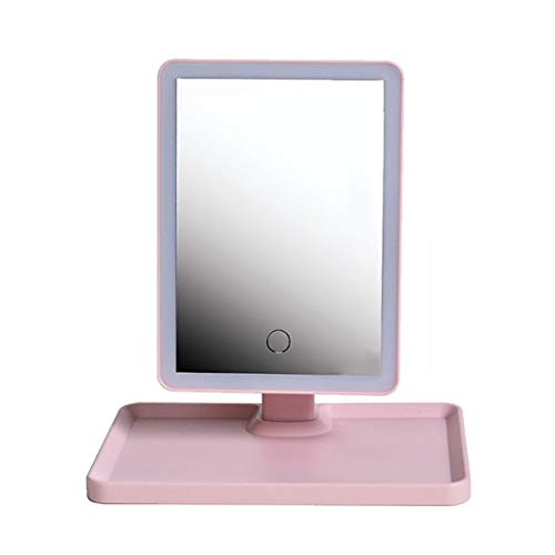 Makeup mirror LAOSUNJIA Desktop LED Light Monochrome 360 ​​Degree Rotating Chassis Storage Item HD for Home Beauty Salon Pink 26.625cm