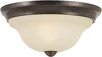Murray Feiss FM250GBZ Morningside Collection 1-Light Flush Mount, Grecian Bronze Finish with Cream Snow Glass Shade