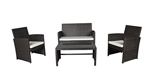 Modern Outdoor Garden, Patio 4 Piece Seat - Wicker Sofa Furniture Set (Brown) (Piece 4 Wicker)