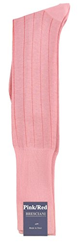 - Ultrafine Cotton Dress Pinstripe Over-the-Calf Socks - One Pair Pink/Red Medium