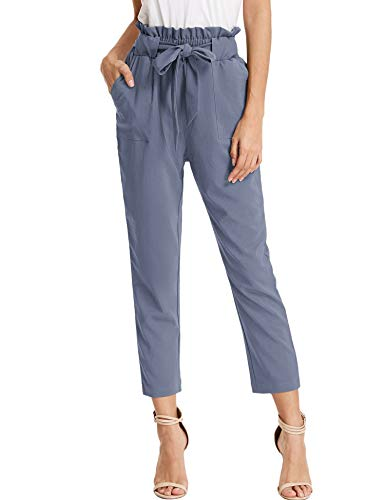 KANCY KOLE Women's Leisure High Waist Pants Regular Fit Straight Leg Cropped Trouser with Pockets (Blue Grey,XL)