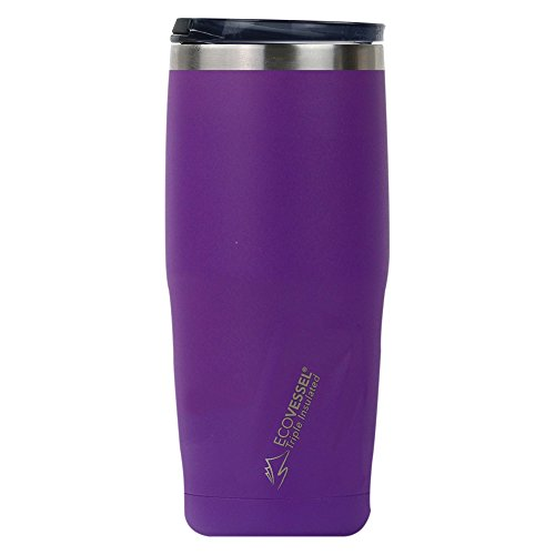 EcoVessel Metro TriMax Vacuum Insulated Stainless Steel Tumbler Cup/Coffee Travel Mug with BPA Free Slider Top - 16 oz Pint Glass - Purple Rain
