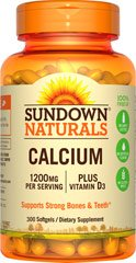 Sundown Naturals Calcium plus Vitamin D3 1200 mg per serving D3 300 Rapid Release Liquid Softgels Made in USA