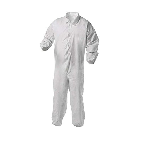 - Kleenguard A35 Liquid & Particle Protection Coverall; White; Microporous film laminate; Zipper front, elastic wrists & ankles; Large. 25/Case