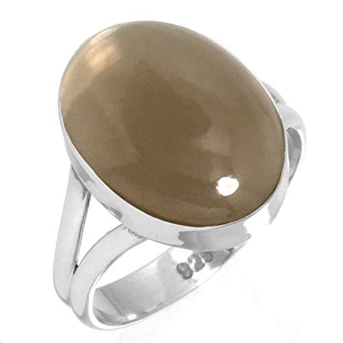 (925 Sterling Silver Ring Natural Smoky Topaz Handmade Jewelry Size 8)