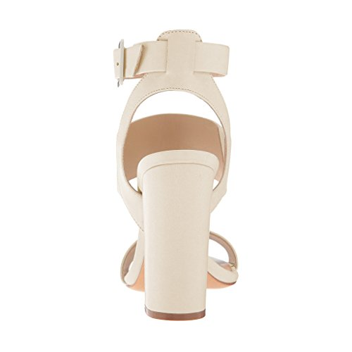 FSJ Women Ankle Strap Buckle Sandals Open Toe Slingback colorful Chunky High Heels Size 4-15 US Ivory RiWxdY2pnF