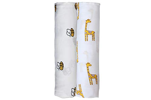 Mother's Lap, Classic Swaddle Baby Blanket, Pure Cotton Muslin, Giraffe and Bee Print Designs, Soft and Comfortable, Set of 2 (Animal Print), Perfect Baby Shower Gift, Size 47x47 ()