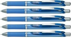 Pentel EnerGel Deluxe RTX Retractable Liquid Gel Pen, 0.5mm, Fine Line, Needle Tip, Blue Ink /Blue Body/ Value Set of 5 (Retractable Pentel Blue Pen)