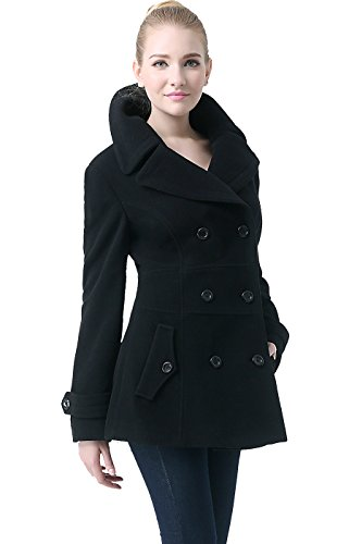 BGSD Women's 'Joann' Wool Blend Pea Coat - Black S - Short Peacoat