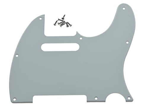 1 Ply White Pickguard (KAISH 8 Hole Tele Guitar Pickguard Scratch Plate fits USA/Mexican Fender Telecaster White 1 Ply)